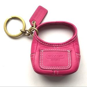 Coach Legacy Fuchsia Leather Ergo Handbag Keyfob